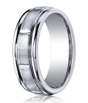 Men's Designer Cobalt Chrome Ring with Satin Finish and Vertical Notches | 7mm - MBCB1003