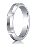 Men's Cobalt Chrome Notched Wedding Ring with Satin Finish and Beveled Edges | 5mm - MBCB1006