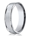 Men's Cobalt Wedding Ring with Satin Finish and Polished Edges | 6mm - MBCB1010