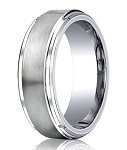 Satin Finished Cobalt Wedding Ring with Polished Stair-Step Edges | 9mm - MBCB1021