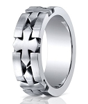 Celtic Cross Designer Cobalt Chrome Wedding Ring for Men | 10mm