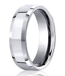 Polished Cobalt Wedding Ring with Flat Center and Beveled Edges | 7.5mm - MBCB1030