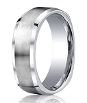Four-Sided Cobalt Wedding Ring with Satin Finish and Polished Beveled Edges | 9mm - MBCB1032
