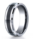 Designer Cobalt Wedding Band with Black Ceramic Inlay | 7mm