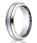 Designer Cobalt Wedding Ring with Blackened Parallel Grooves | 7mm