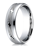 Mokume Gane Designer Cobalt Chrome Wedding Band for Men | 8mm