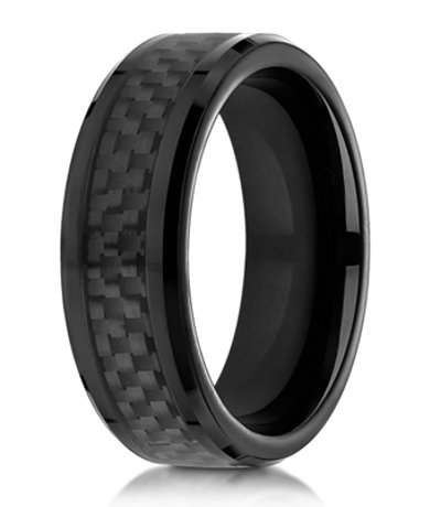 Designer cobalt chrome wedding ring with black carbon fiber for Carbon fibre wedding ring