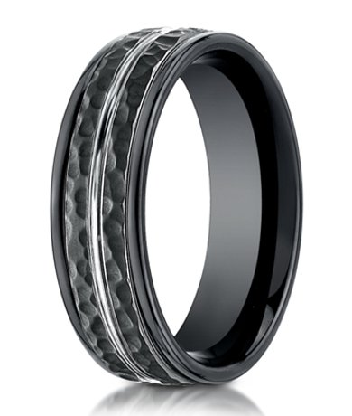 Hammered Benchmark Black Cobalt Chrome Wedding Band for Men