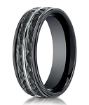 Hammered Black Cobalt Chrome Designer Wedding Band for Men | 8mm