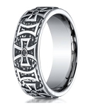 Maltese Cross Cobalt Chrome Wedding Ring with Black Diamonds | 9mm