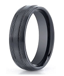 Black Benchmark Seranite Wedding Ring with Polished Grooves | 7mm - MBCS1002