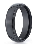 Benchmark Black Seranite Wedding Ring with Polished Finish | 7mm - MBCS1003