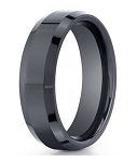Benchmark Black Seranite Wedding Ring with Polished Beveled Edges | 7mm - MBCS1004