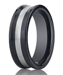 Benchmark Seranite Mens Wedding Band with Silver Inlay | 8mm