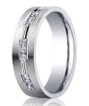 14K White Gold Band with 18 Channel Set Diamonds and Satin Finish | 6mm - MBD0106