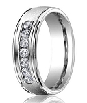 Benchmark 14K White Gold Diamond Wedding Band with Satin Finish | 6mm - MBD0108