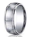 Designer 10 mm Designer Engraved & Spun Satin Finish Silver Wedding Band - MBS1001