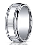 Designer 10 mm Designer Engraved & Polished Finish Silver Wedding Band - MBS1002