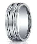 Designer 10 mm Designer Engraved & Satin Finish Silver Wedding Band - MBS1004