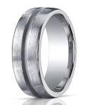 10 mm Designer Engraved & Satin Finish Silver Wedding Band - MBS1005
