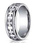 Mens Argentium Silver Ring with Carved Cross Design and Polished Finish | 10mm - MBS1007