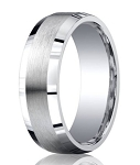 Mens Silver Wedding Ring with Satin Center and Beveled Edges | 7mm - MBS1008