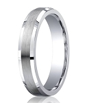 Argentium Silver Mens Ring with Satin Center and Polished Beveled Edges | 5mm - MBS1009