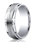 Mens Silver Ring with Double Satin Grooved Center and Polished Edges | 9mm - MBS1011