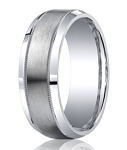 Benchmark Argentium Silver Wedding Band with Milgrain Detail | 9mm