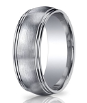 Benchmark Argentium Silver Wedding Ring with Double Row Edge | 10mm