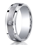Benchmark Argentium Silver Wedding Band with Pave Set Diamonds | 7mm
