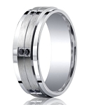 Benchmark Argentium Silver Wedding Ring with 12 Black Diamonds | 9mm