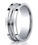 Benchmark Argentium Silver Wedding Band with Pave Set Diamonds and Polished Groove | 9mm
