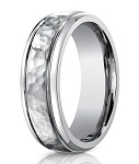 Men's Designer Hammered Titanium Ring with Polished Edges | 7mm - MBT1003