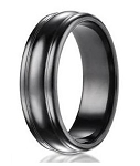 Designer Men's Black Titanium Ring with Rounded Edges | 7.5mm - MBT1009