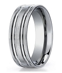 Men's Designer 8MM Titanium Ring with Polished Ridges | 8mm - MBT1011