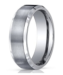 Men's Designer Titanium Wedding Band with Polished Beveled Edges | 7mm - MBT1012