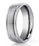 Designer Titanium Wedding Ring with Satin Finish and Polished Rounded Edge | 6mm