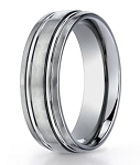 Men's Designer Titaniun Wedding Band with High Polished Grooves | 6mm