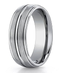 Men's Designer Titanium Wedding Band with Polished Center Trim | 8mm