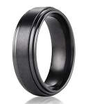 Mens Black Titanium Wedding Ring with Double Polished Step-down Edge | 8mm