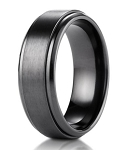 Men's Black Titanium Wedding Band with Step Edge and Satin Finish | 9mm