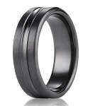 Designer Black Titanium Wedding Band with High Polished Center Ridge | 7.5mm