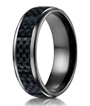 Mens Black Titanium Wedding Band with Carbon Fiber Inlay | 8mm