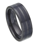 Black Ceramic Wedding Band with Black Carbon Fiber Inlay | 8mm