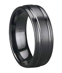 Men's Black Ceramic Wedding Band with Two Grooves and a Satin Finish | 8mm - MC0051