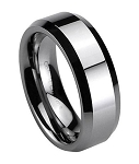 Men's Cobalt Chrome Wedding Band with Flat Profile, Beveled Edges and Polished Finish | 7mm - MCB0107