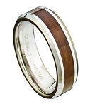 Men's Cobalt Chrome Wedding Ring with Koa Wood and Polished Edges