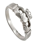 Men's Celtic Stainless Steel Claddagh Ring with Polished Finish