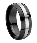 Comfort-fit Black Stainless Steel Wedding Ring with Brushed Center Band – 9 mm - MSS0096